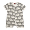 Milkbarn Organic Cotton Shortall Grey Hedgehog