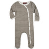 Milkbarn Organic Footed Romper Grey Stripe