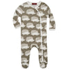 Milkbarn Organic Footed Romper Grey Hedgehog