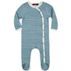 Milkbarn Organic Footed Romper Blue Stripe
