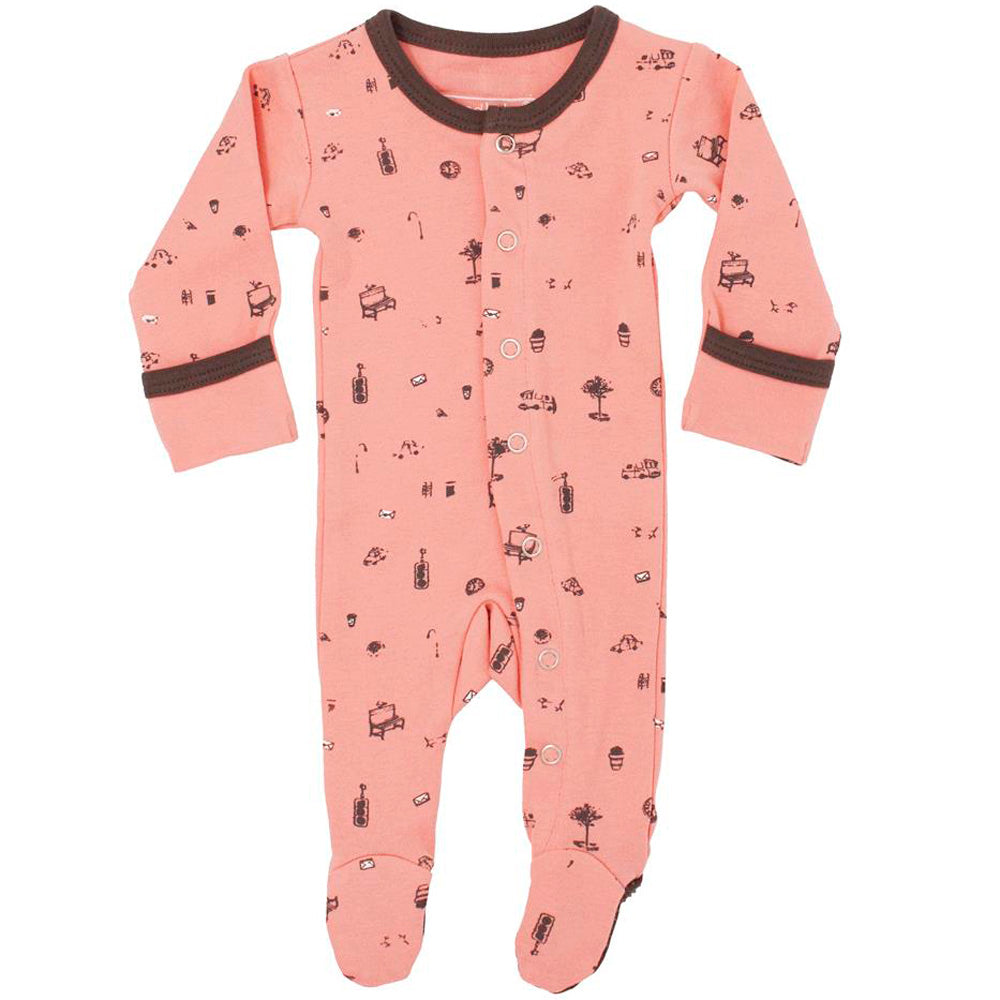 L'ovedbaby Organic Footie Itty Bitty City Coral