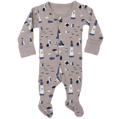 L'ovedbaby Organic Cotton Footie Sail Light Gray