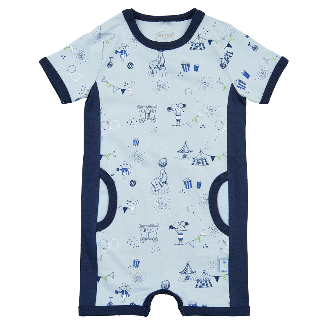 Me Too Organic Short Sleeve Romper Circus Blue