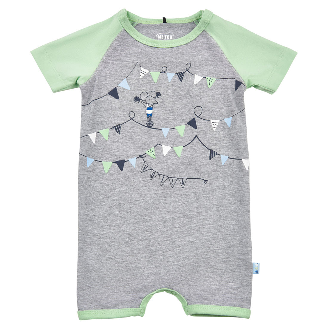 Me Too Organic Short Sleeve Romper Circus Green/Gray