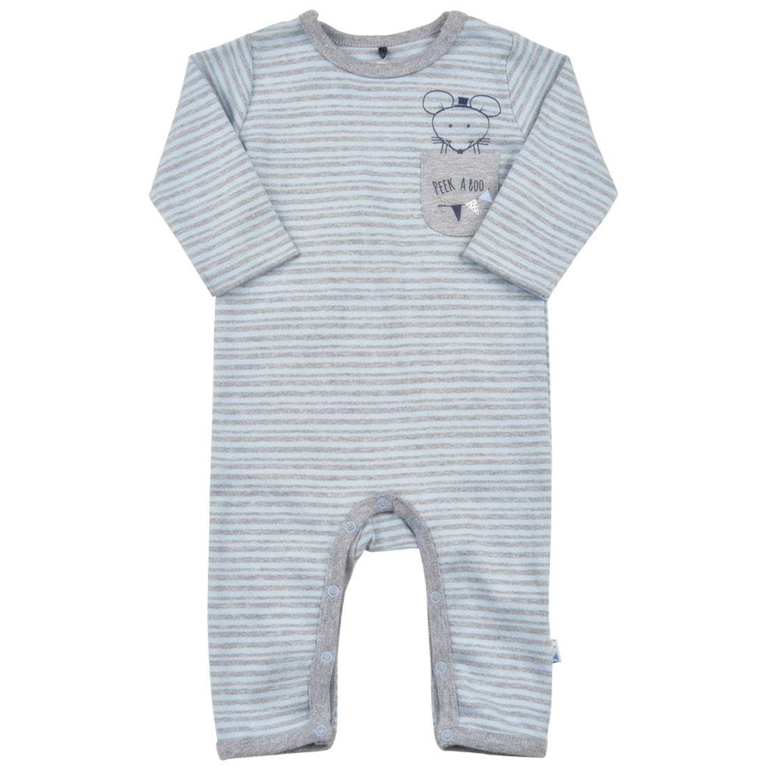 Me Too Organic Long Sleeve Romper Blue Mouse