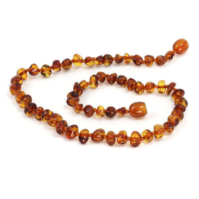 Momma Goose Baby Amber Teething Necklace Baroque - Cognac