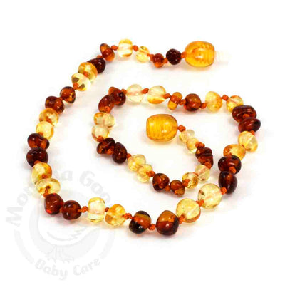 Momma Goose Baby Amber Teething Necklace Baroque - Cognac & Lemon