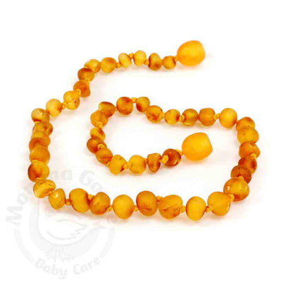 Momma Goose Baby Amber Teething Necklace Baroque - Unpolished Honey