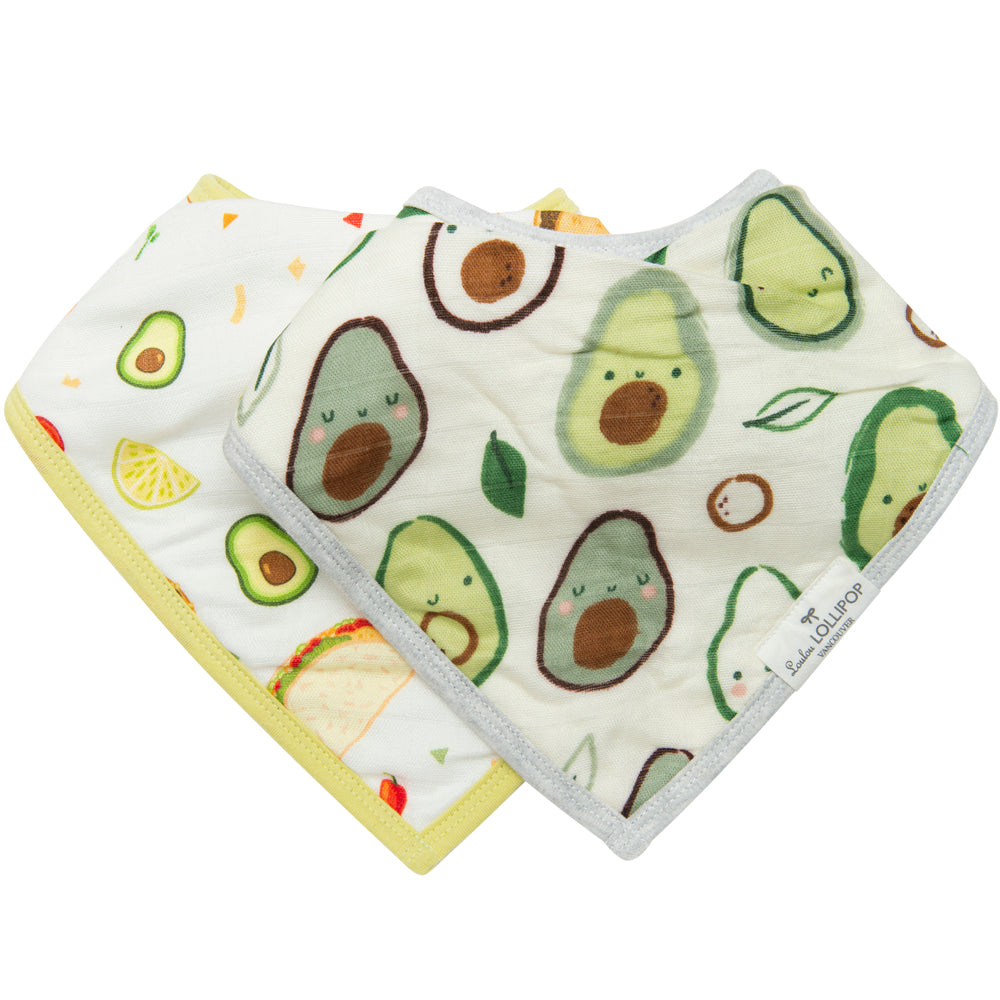 Loulou Lollipop Muslin Bandana Bib Set - Avocado