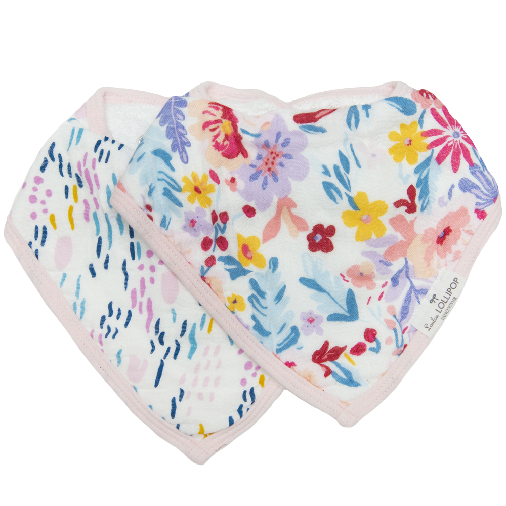 Loulou Lollipop Muslin Bandana Bib Set - Light Field Flowers
