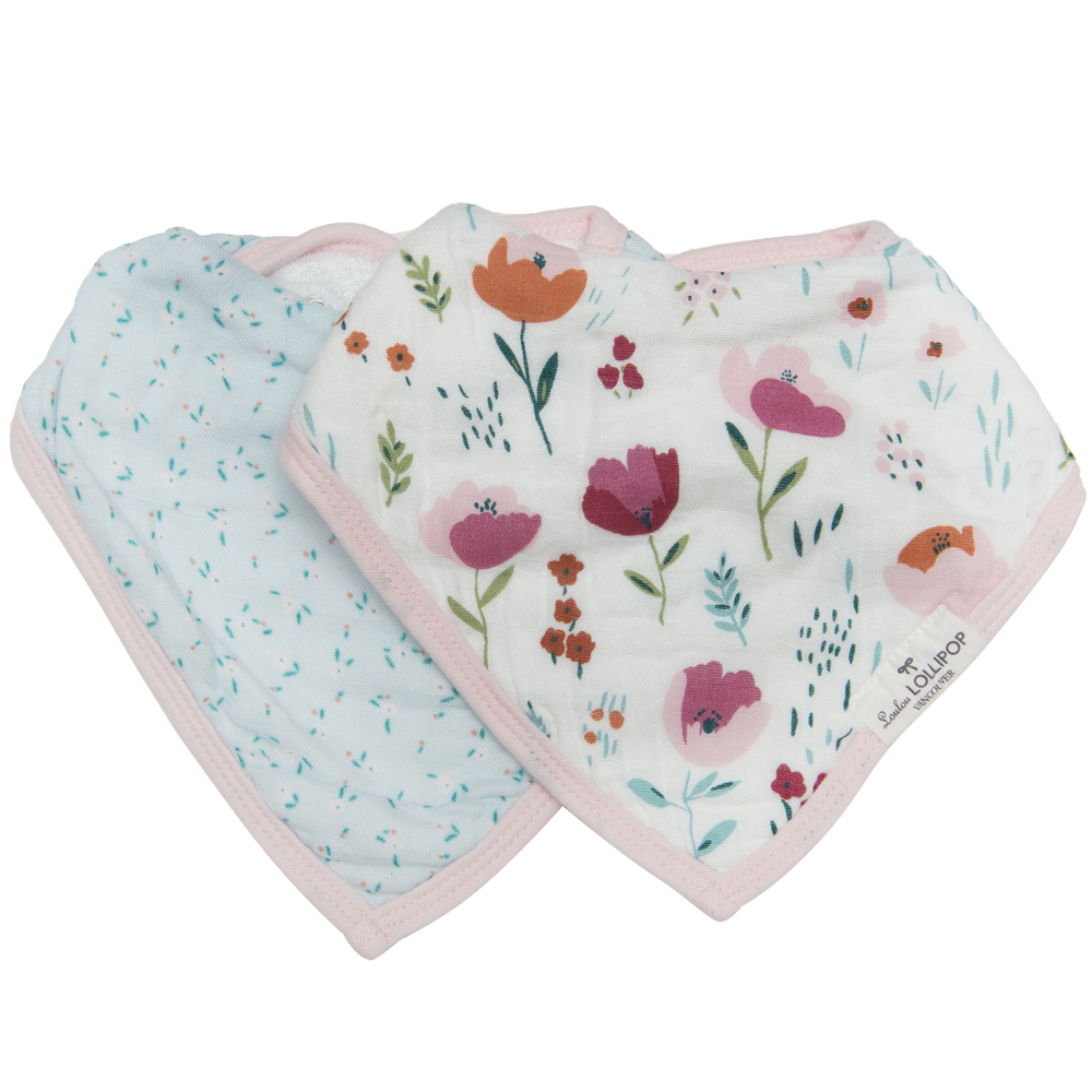 Loulou Lollipop Muslin Bandana Bib Set - Rosey Bloom