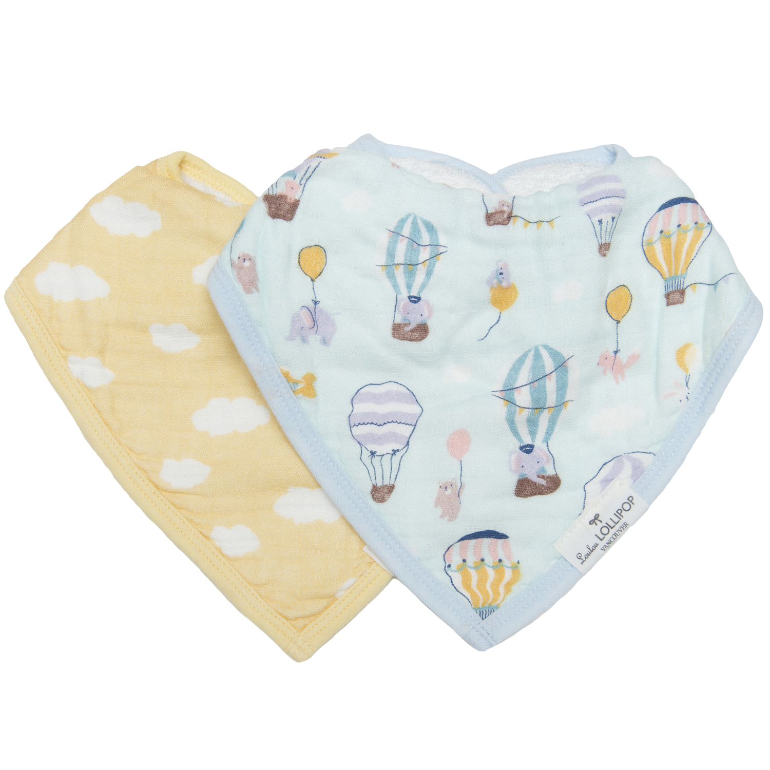 Loulou Lollipop Muslin Bandana Bib Set - Up Up Away