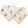 Loulou Lollipop Muslin Bandana Bib Set - Ice Cream and Pizza