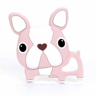 Loulou Lollipop Silicone Baby Teether Boston Terrier Pink