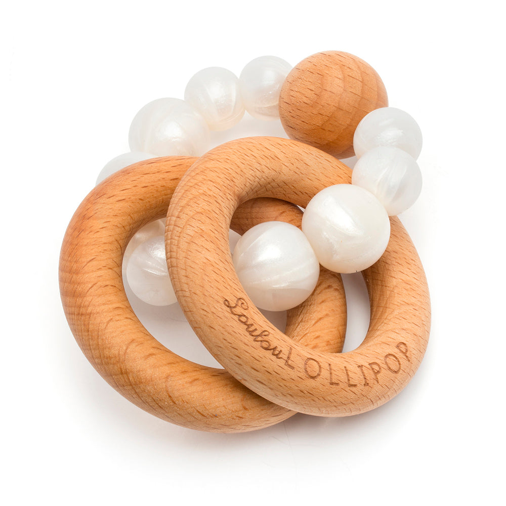 Loulou Lollipop Bubble Silicone and Wood Teether - Pearl