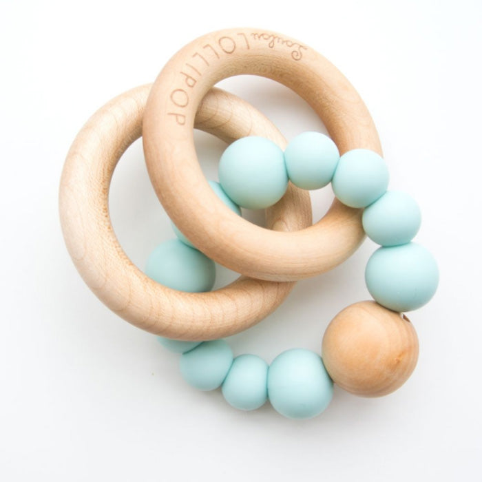 Loulou Lollipop Bubble Silicone and Wood Teether Robin's Blue