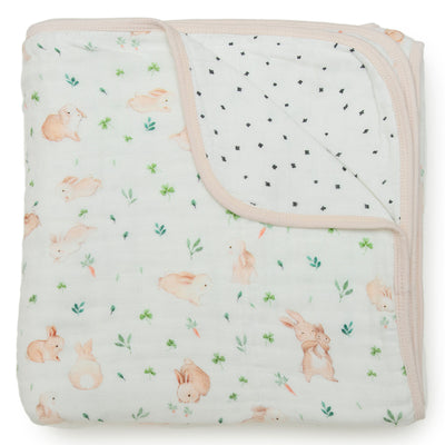 Loulou Lollipop Muslin Quilt Blanket - Bunny Meadow