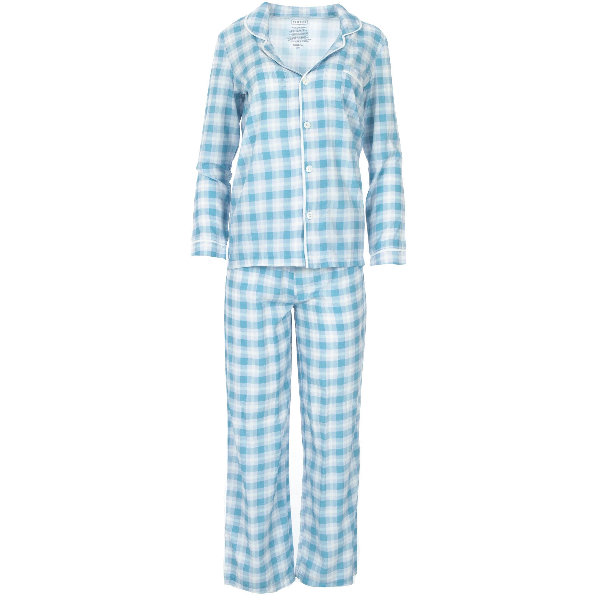 KicKee Pants Womens Collared Pajama Set - Blue Moon 2020 Holiday Plaid