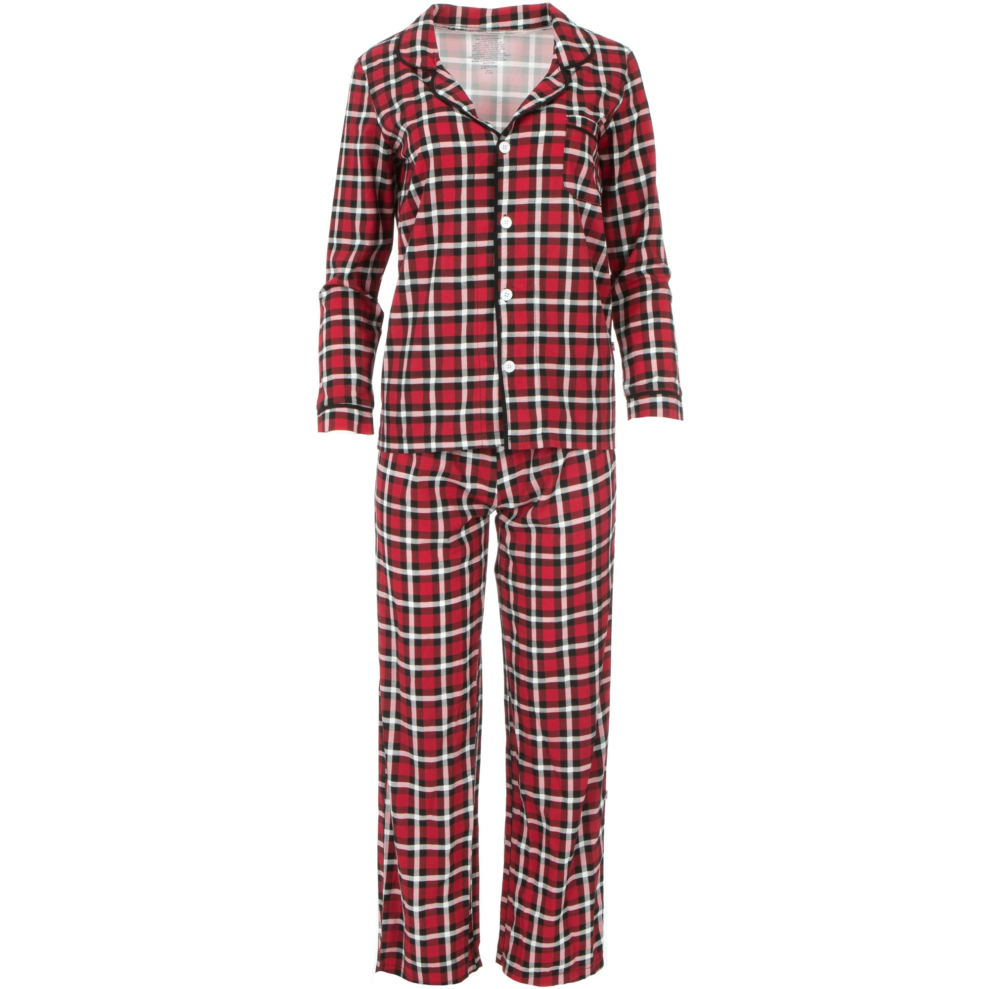 KicKee Pants Womens Collared Pajama Set - Crimson 2020 Holiday Plaid