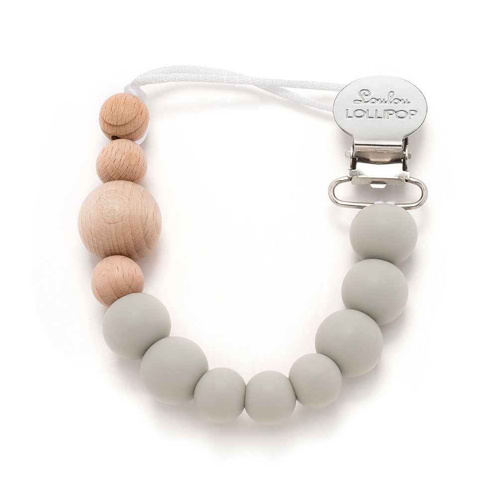 Loulou Lollipop Silicone and Wood Pacifier Clip Gray