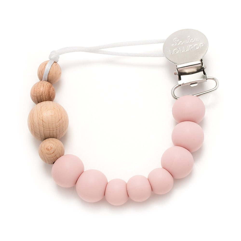 Loulou Lollipop Silicone and Wood Pacifier Clip - Pink Quartz