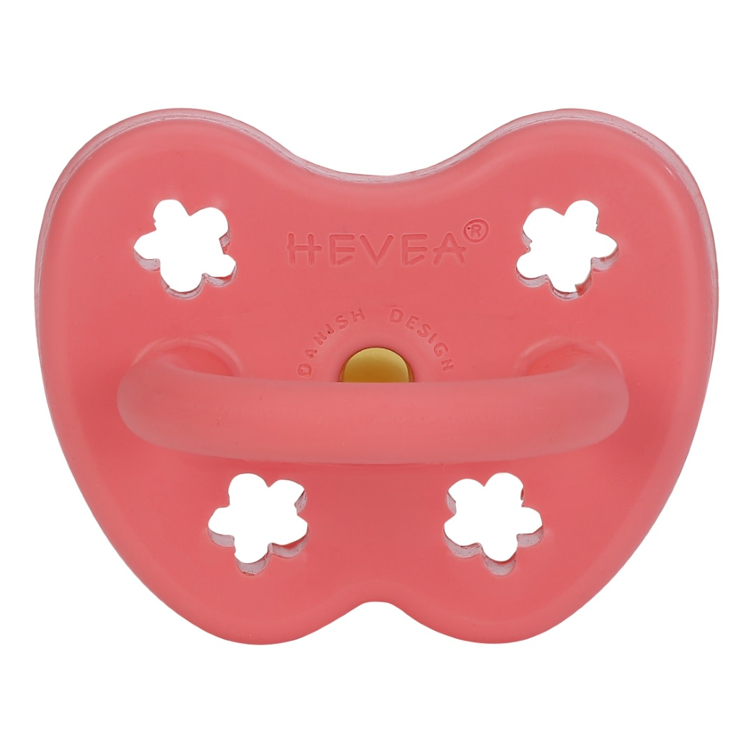Hevea Natural Rubber Pacifier Coral (Orthodontic 3-36m)