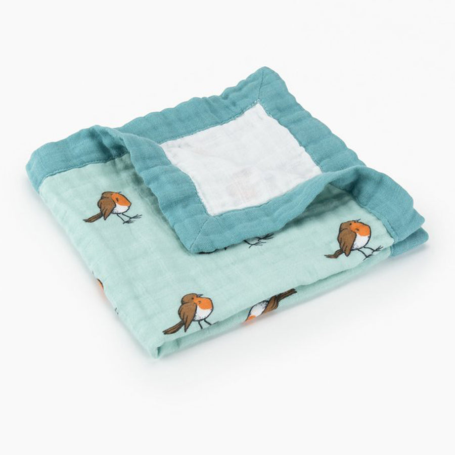 Little Blue Nest Organic Cotton Muslin Comforter Security Blanket - Little Robin