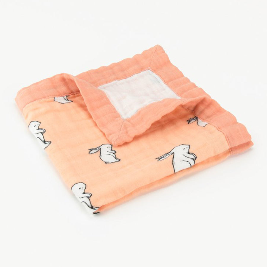 Little Blue Nest Organic Cotton Muslin Comforter Security Blanket - Long Ear Bunny