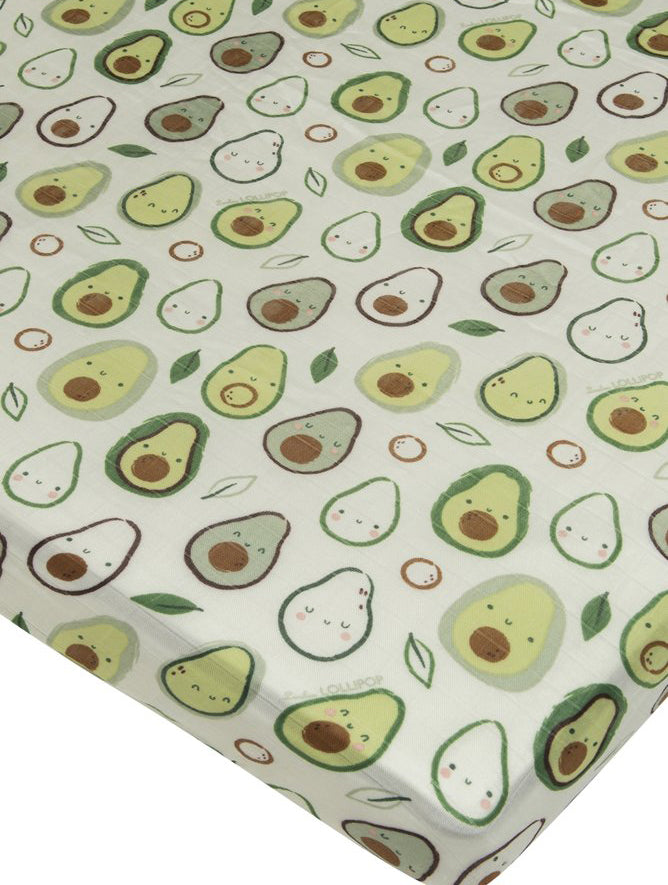 Loulou Lollipop Bamboo Muslin Fitted Crib Sheet - Avocado