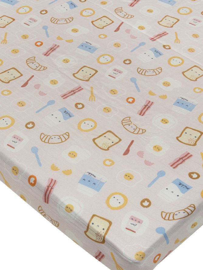 Loulou Lollipop Bamboo Muslin Fitted Crib Sheet - Breakfast Pink