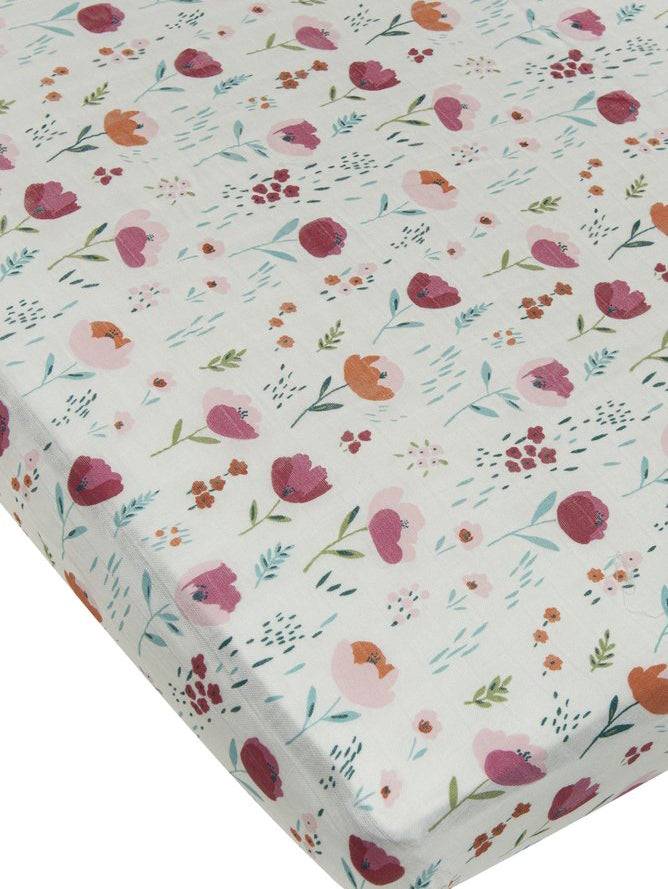 Loulou Lollipop Bamboo Muslin Fitted Crib Sheet - Rosey Bloom