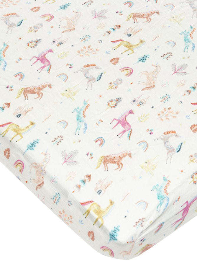 Loulou Lollipop Bamboo Muslin Fitted Crib Sheet - Unicorn Dream