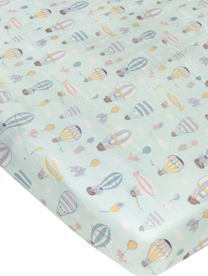 Loulou Lollipop Bamboo Muslin Fitted Crib Sheet - Up Up Away