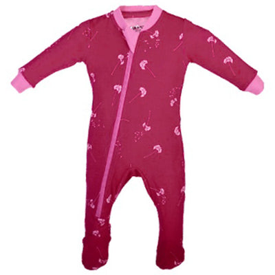 ZippyJamz Organic Baby Footed Sleeper w/ Inseam Zipper - Dandelion Wishes