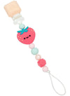 Loulou Lollipop Silicone Darling Pacifier Clip Strawberry