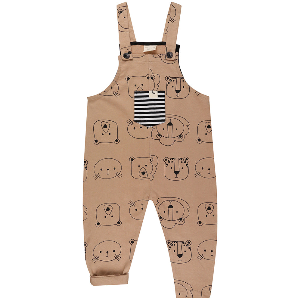 Turtledove London Organic Easy Fit Dungarees - Cub Faces