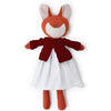 Hazel Village Organic Flora Fox in Snowy White Linen Dress and Cranberry Sweater