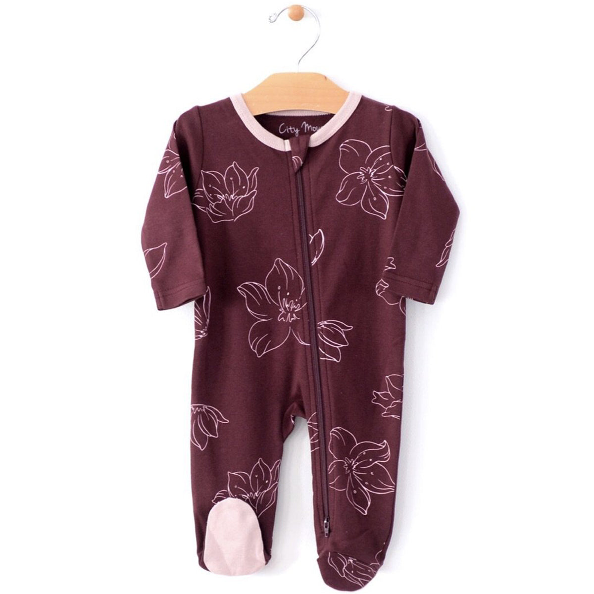 3f7cb1be1 City Mouse Organic Footed Romper w/ 2-Way Zipper Hellebore - Mini ...