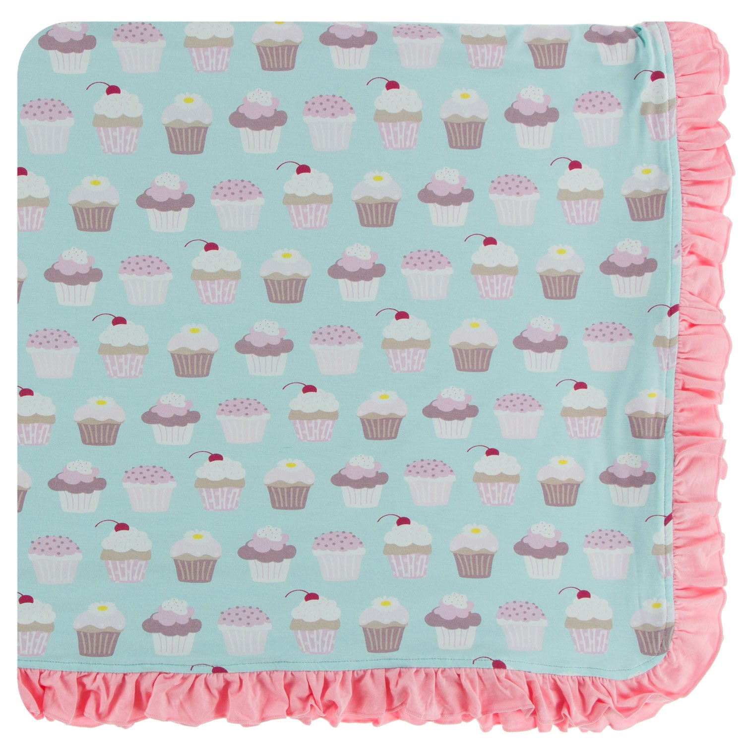 KicKee Pants Ruffle Toddler Blanket - Summer Sky Cupcakes