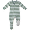 ZippyJamz Organic Baby Footed Sleeper Green Stripes