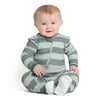 ZippyJamz Organic Baby Footed Sleeper w/ Inseam Zipper - Green Stripes