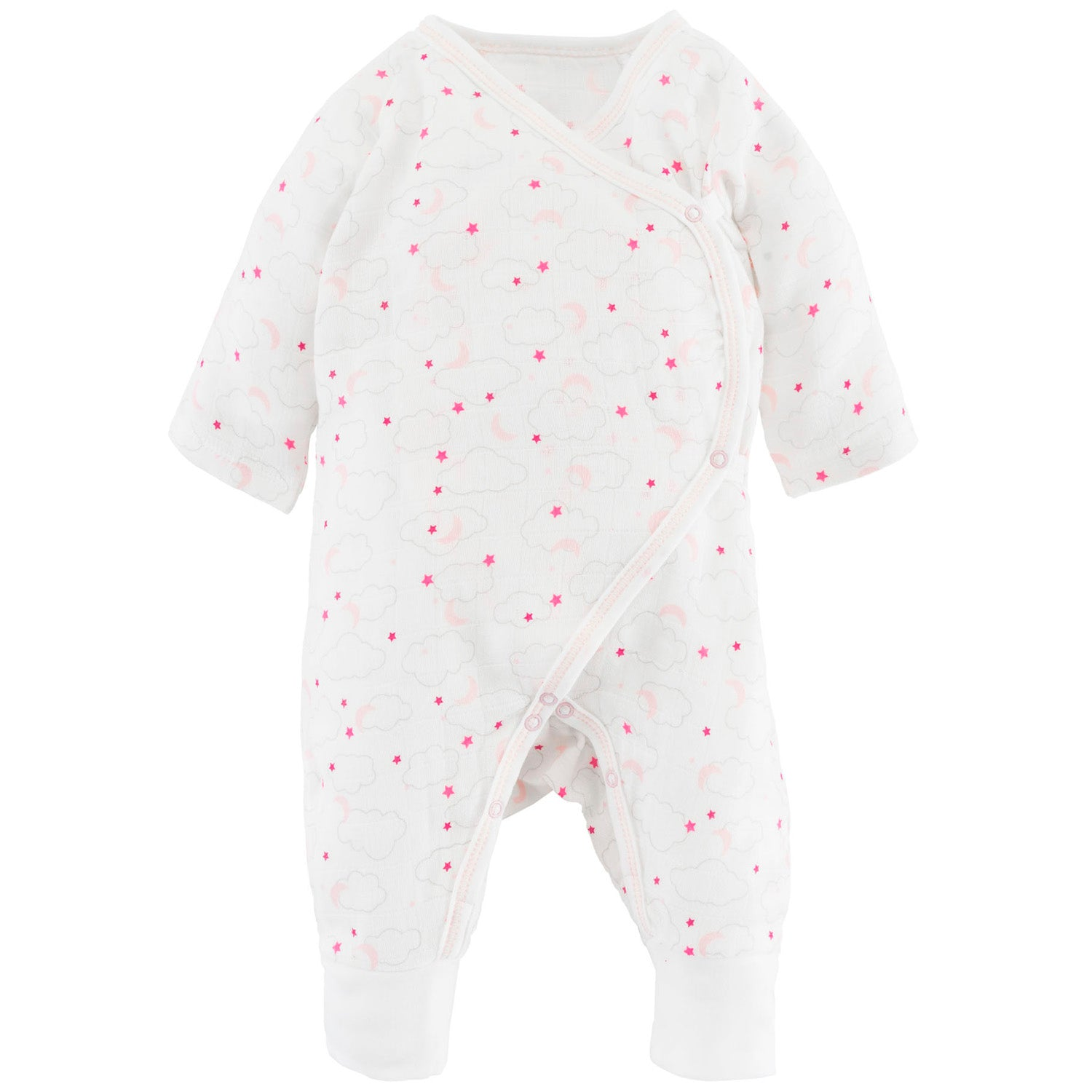 Under the Nile Organic Muslin Side Snap Kimono Romper - Pink Starry Night