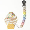 Loulou Lollipop Silicone Teether and Holder Set - Chocolate Ice Cream