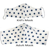 Organic Cotton Reusable Face Mask with Filter Pocket - Navy Polka Dot