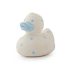 Oli & Carol Natural Rubber Bath Toy Elvis the Duck Blue Dots