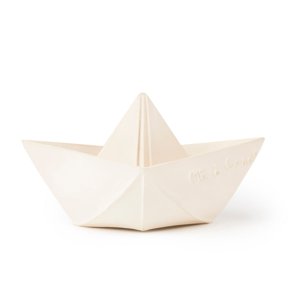 Oli & Carol Natural Rubber Teether Bath Toy Origami Boat White