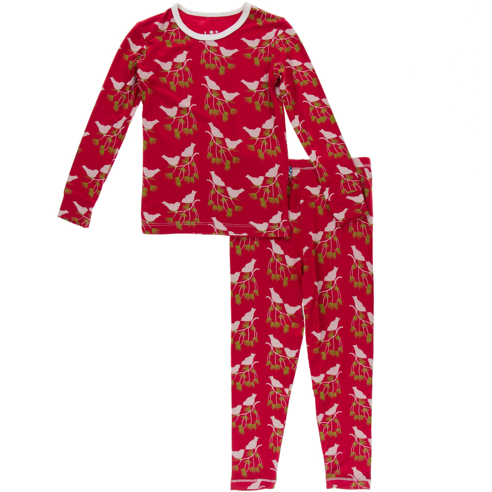 KicKee Pants Pajama Set - Crimson Kissing Birds