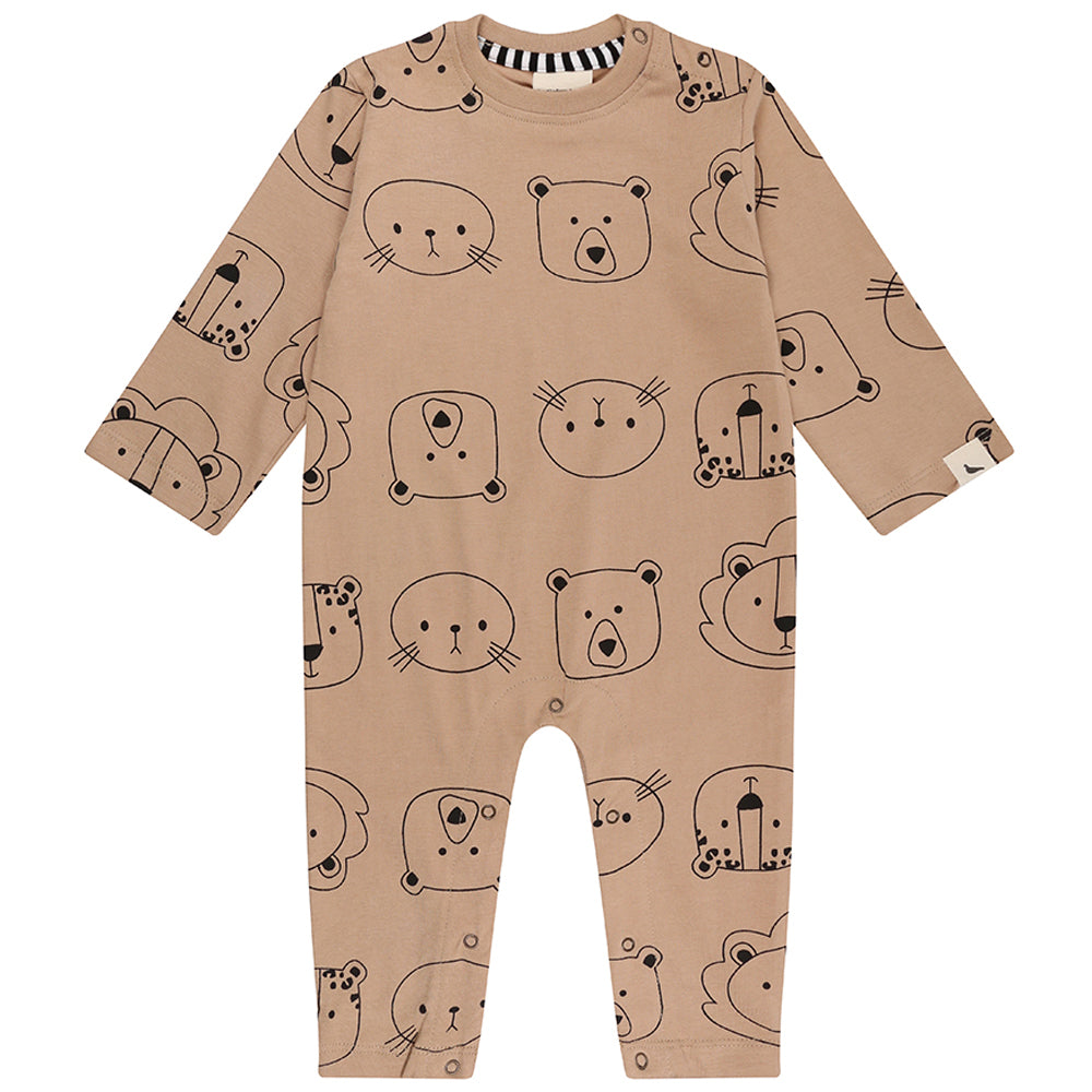 Turtledove London Organic Baby Playsuit - Cub Faces