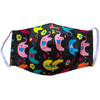Kids Face Mask with Filter Pocket Black Elephants