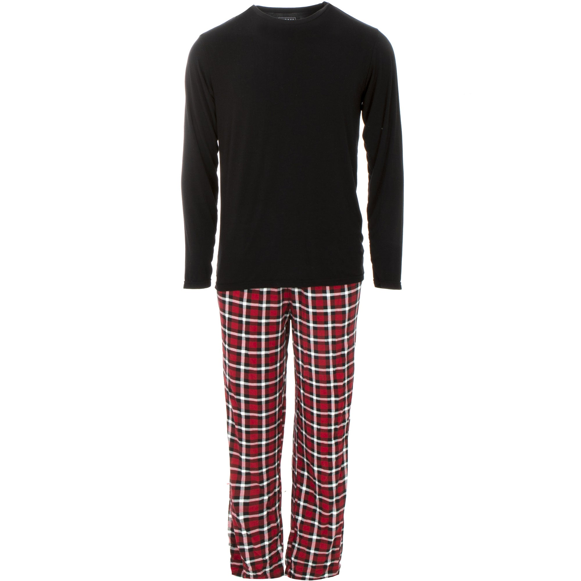 KicKee Pants Mens Long Sleeve Pajama Set - Crimson 2020 Holiday Plaid